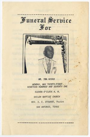[Funeral Program for Ira Nious, May 31, 1971]