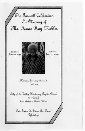 Primary view of object titled '[Funeral Program for Isaac Ray Nobles, January 26, 2009]'.