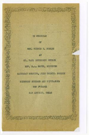 Primary view of object titled '[Funeral Program for Minnie N. Nobles, July 24, 1954]'.