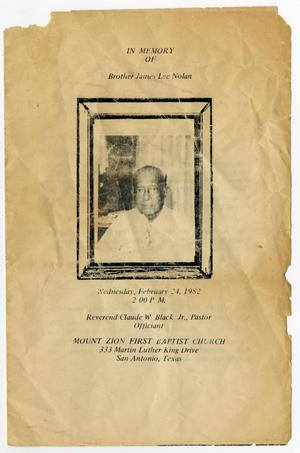 Primary view of object titled '[Funeral Program for James Lee Nolan, February 24, 1982]'.