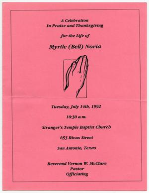 Primary view of object titled '[Funeral Program for Myrtle Noria, July 14, 1992]'.
