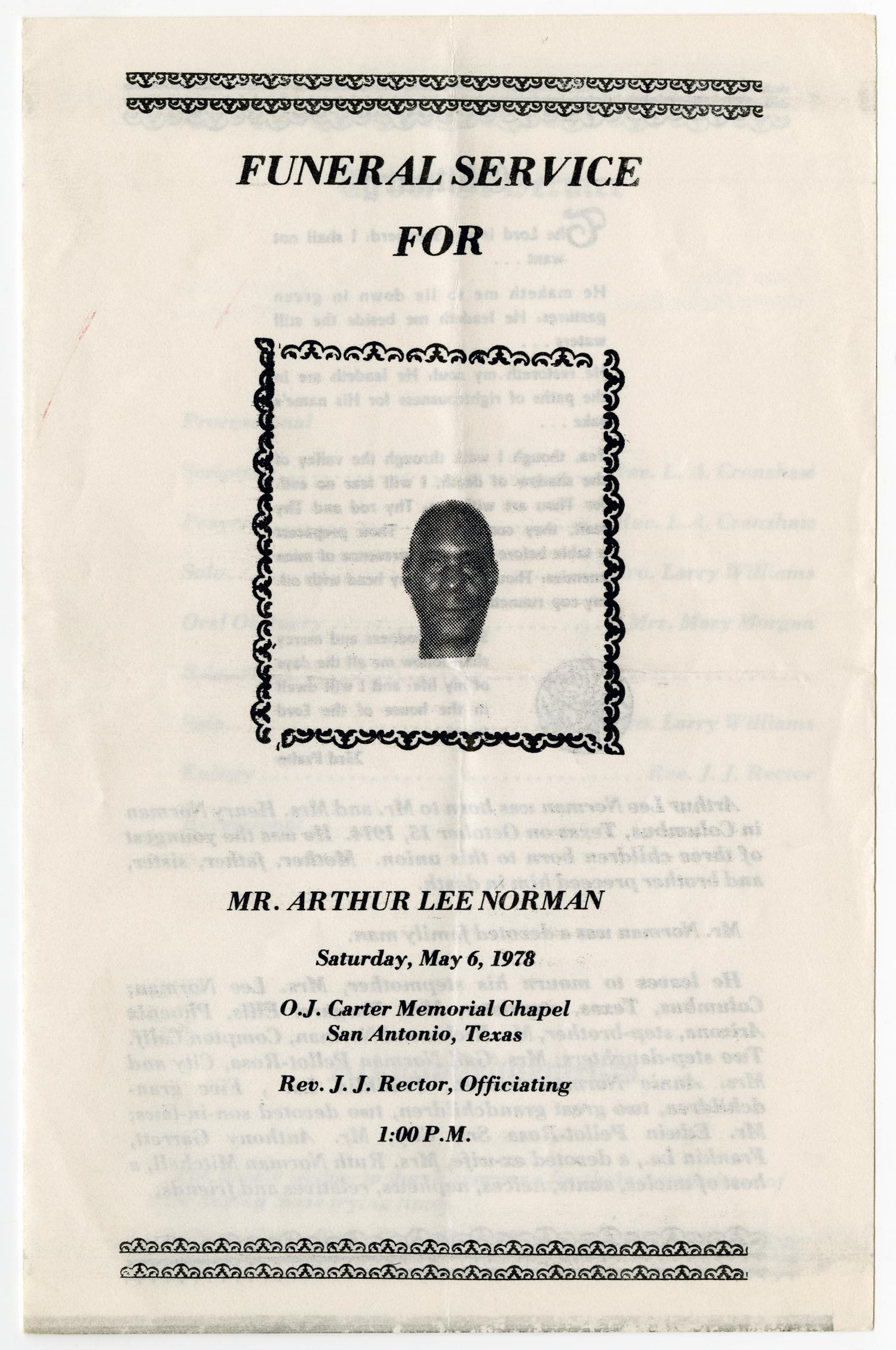 [Funeral Program for Arthur Lee Norman, May 6, 1978]                                                                                                      [Sequence #]: 1 of 3