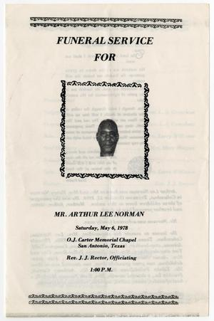 [Funeral Program for Arthur Lee Norman, May 6, 1978]