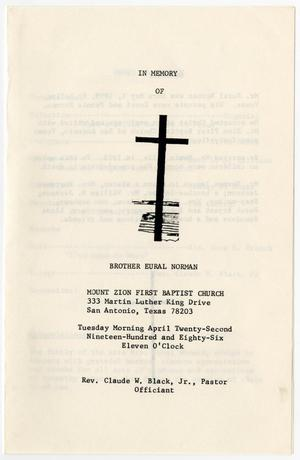 Primary view of object titled '[Funeral Program for Eural Norman, April 22, 1986]'.