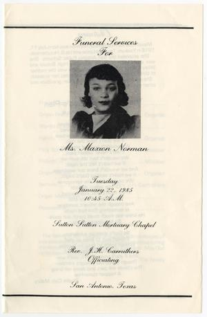 Primary view of object titled '[Funeral Program for Maxion Norman, January 22, 1985]'.