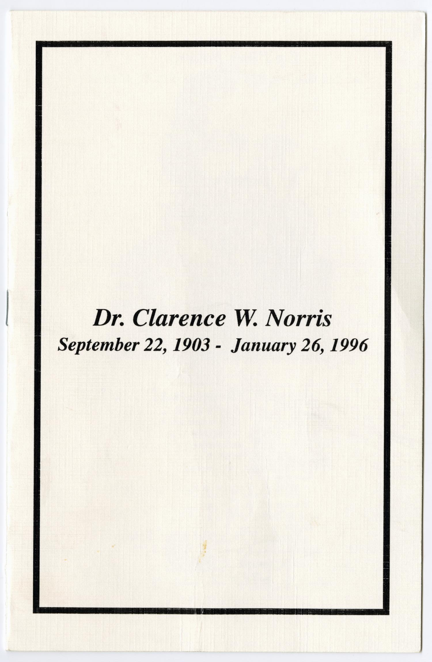 [Funeral Program for Clarence W. Norris, February 2, 1996]                                                                                                      [Sequence #]: 1 of 5