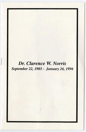 Primary view of object titled '[Funeral Program for Clarence W. Norris, February 2, 1996]'.