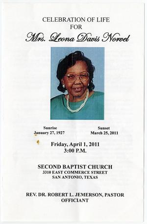 Primary view of object titled '[Funeral Program for Leona Davis Norvel, April 1, 2011]'.