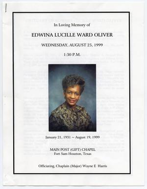 Primary view of object titled '[Funeral Program for Edwina Lucille Ward Oliver, August 25, 1999]'.