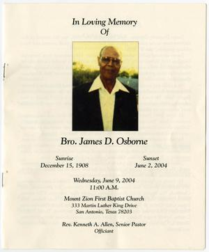 Primary view of object titled '[Funeral Program for James D. Osborne, June 9, 2004]'.