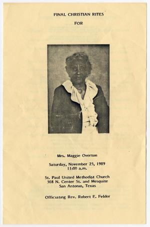 Primary view of object titled '[Funeral Program for Maggie Overton, November 25, 1989]'.