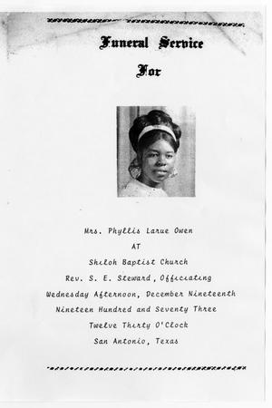 Primary view of object titled '[Funeral Program for Phyllis Larue Owen, December 19, 1973]'.