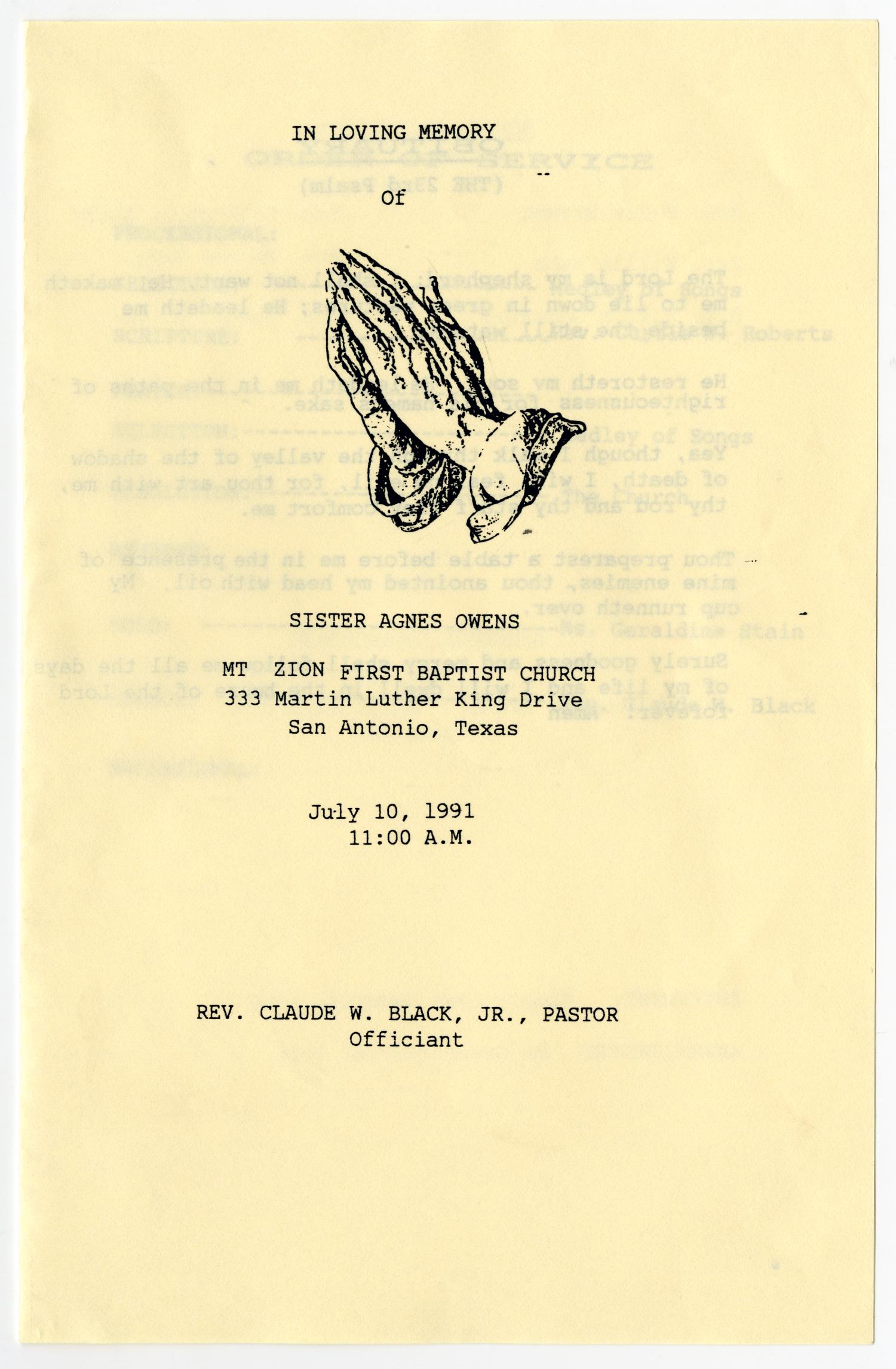 [Funeral Program for Agnes Owens, July 10, 1991]                                                                                                      [Sequence #]: 1 of 3