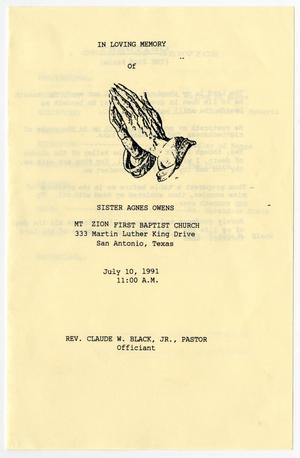 Primary view of object titled '[Funeral Program for Agnes Owens, July 10, 1991]'.