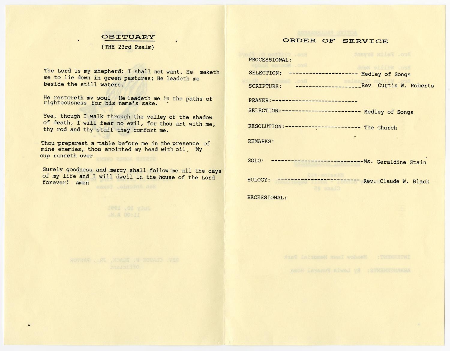 [Funeral Program for Agnes Owens, July 10, 1991]                                                                                                      [Sequence #]: 2 of 3