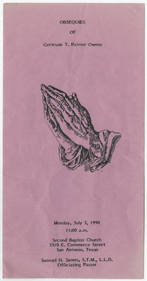 Primary view of object titled '[Funeral Program for Gertrude T. Palmer Owens, July 2, 1990]'.