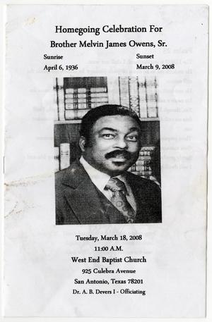 Primary view of object titled '[Funeral Program for Melvin James Owens, Sr., March 18, 2008]'.
