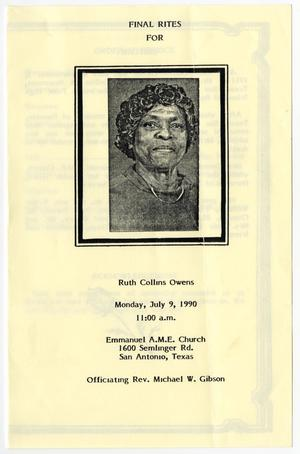 Primary view of object titled '[Funeral Program for Ruth Collins Owens, July 9, 1990]'.