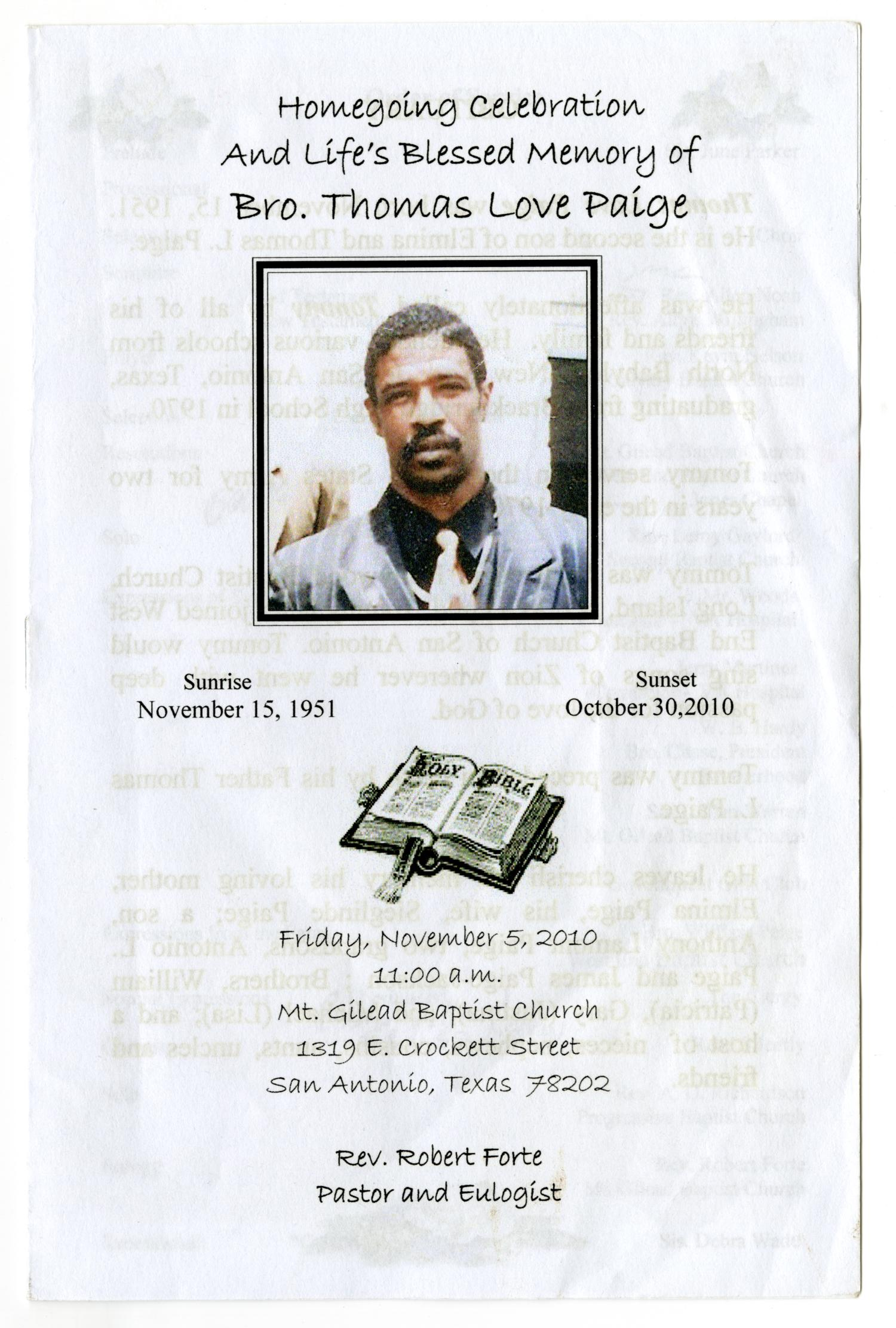 [Funeral Program for Thomas Love Paige, November 5, 2010]                                                                                                      [Sequence #]: 1 of 5