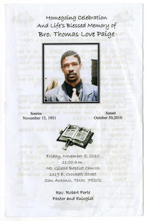 Primary view of object titled '[Funeral Program for Thomas Love Paige, November 5, 2010]'.