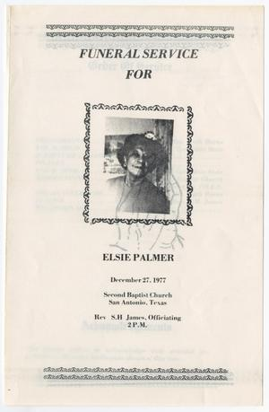 Primary view of object titled '[Funeral Program for Elsie Palmer, December 27, 1977]'.