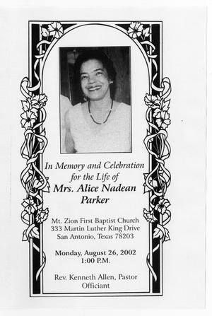 Primary view of object titled '[Funeral Program for Alice Nadean Parker, August 26, 2002]'.