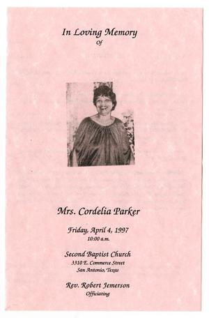 Primary view of object titled '[Funeral Program for Cordelia Parker, April 4, 1997]'.
