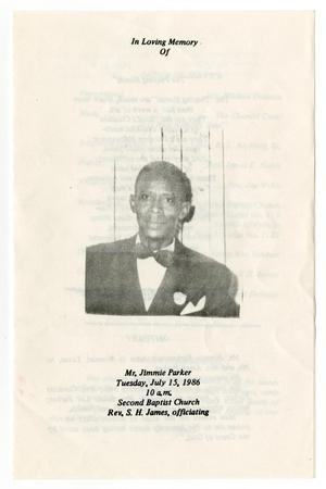 Primary view of object titled '[Funeral Program for Jimmie Parker, July 15, 1986]'.