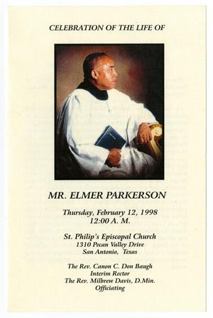 Primary view of object titled '[Funeral Program for Elmer Parkerson, February 12, 1998]'.