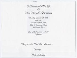 [Funeral Program for Mary L. Parramore, January 26, 1995]