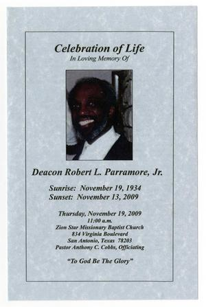 Primary view of object titled '[Funeral Program for Robert L. Parramore, Jr., November 19, 2009]'.