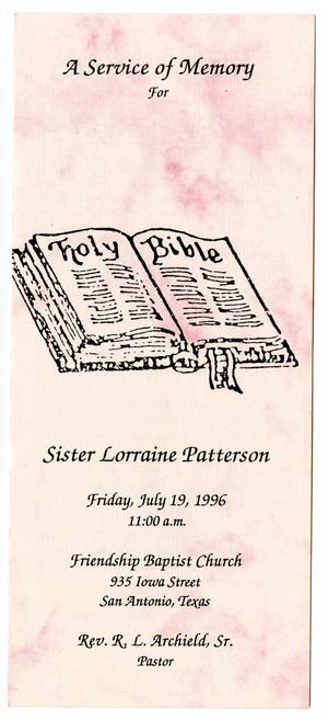 [Funeral Program for Lorraine Patterson, July 19, 1996]
