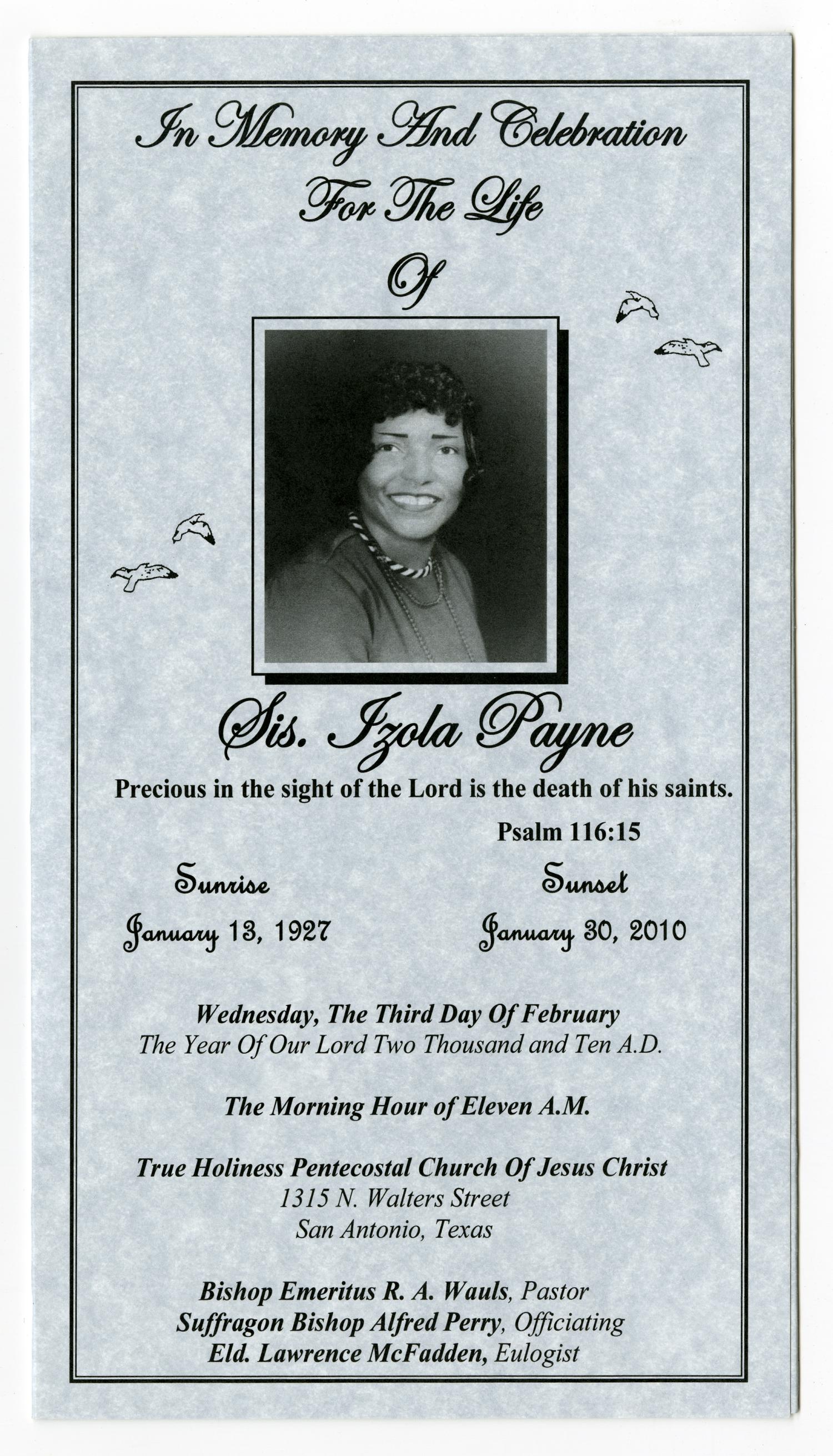 [Funeral Program for Izola Payne, February 3, 2010]                                                                                                      [Sequence #]: 1 of 3