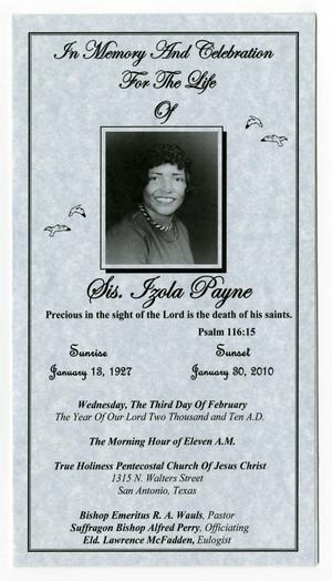 Primary view of object titled '[Funeral Program for Izola Payne, February 3, 2010]'.