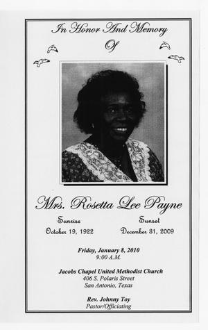 Primary view of object titled '[Funeral Program for Rosetta Lee Payne, January 8, 2010]'.
