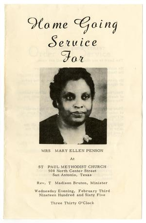 Primary view of object titled '[Funeral Program for Mary Ellen Penson, February 3, 1965]'.