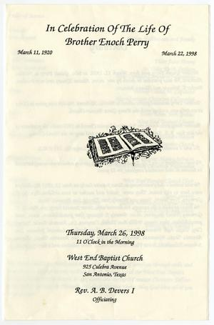 Primary view of object titled '[Funeral Program for Enoch Perry, March 26, 1998]'.