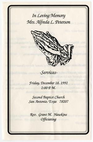 [Funeral Program for Alfreda L. Peterson, December 18, 1992]