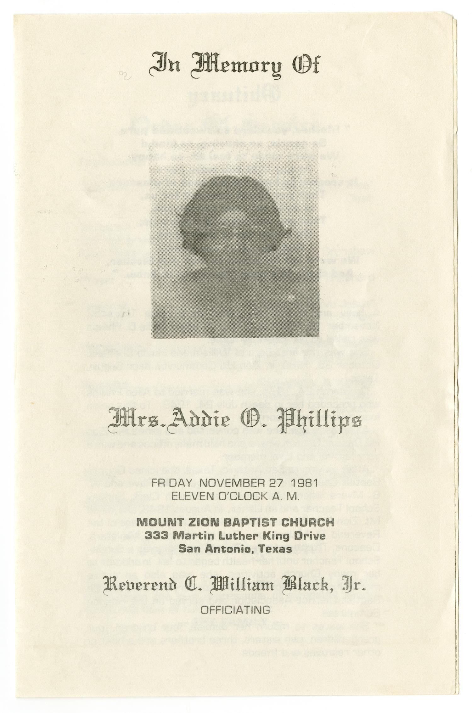 [Funeral Program for Addie O. Phillips, November 27, 1981]                                                                                                      [Sequence #]: 1 of 3