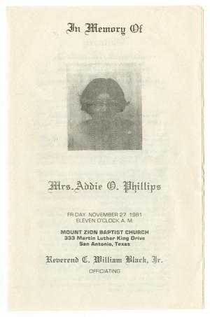 Primary view of object titled '[Funeral Program for Addie O. Phillips, November 27, 1981]'.