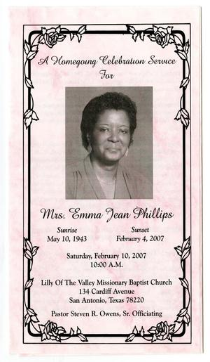 Primary view of object titled '[Funeral Program for Emma Jean Phillips, February 10, 2007]'.