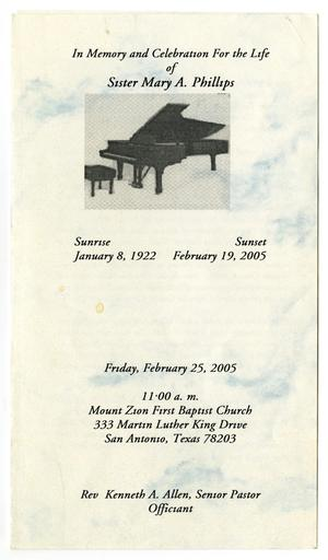 Primary view of object titled '[Funeral Program for Mary A. Phillips, February 25, 2005]'.