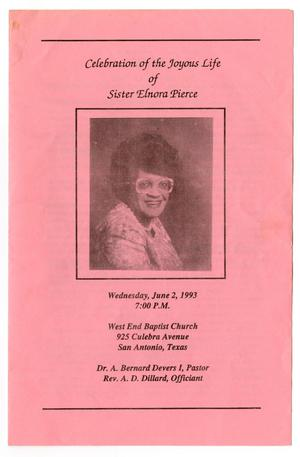 Primary view of object titled '[Funeral Program for Elnora Pierce, June 2, 1993]'.