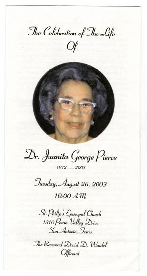 Primary view of object titled '[Funeral Program for Juanita George Pierce, August 26, 2003]'.
