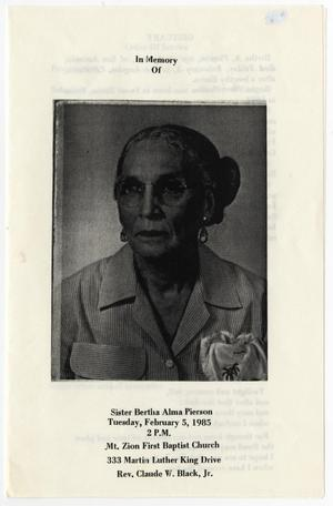 Primary view of object titled '[Funeral Program for Bertha Alma Pierson, February 5, 1985]'.