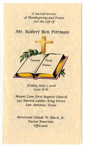 Primary view of object titled '[Funeral Program for Robert Ben Pittman, July 7, 2006]'.