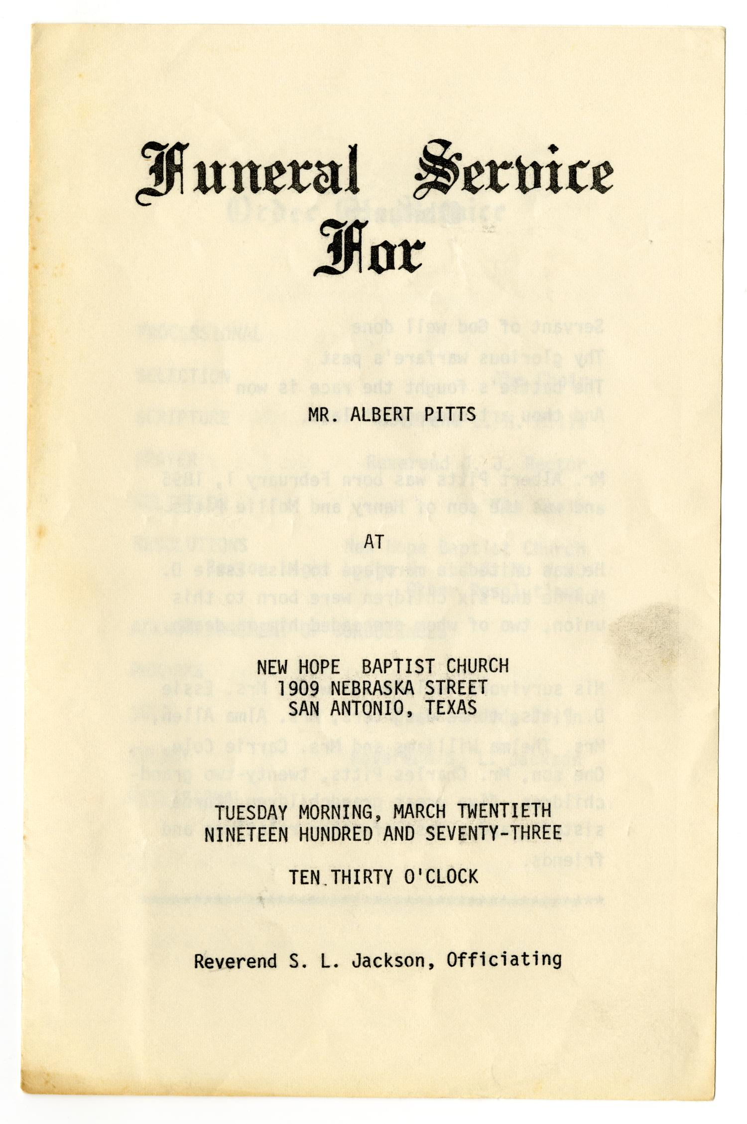 [Funeral Program for Albert Pitts, March 20, 1973]                                                                                                      [Sequence #]: 1 of 3