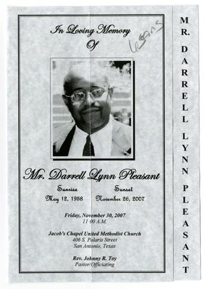 Primary view of object titled '[Funeral Program for Darrell Lynn Pleasant, November 30, 2007]'.