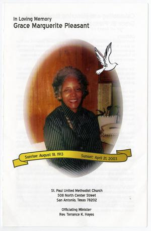 Primary view of object titled '[Funeral Program for Grace Marguerite Pleasant, April 2003]'.