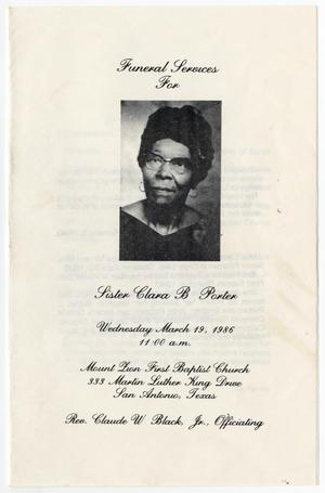 [Funeral Program for Clara B. Porter, March 19, 1986]
